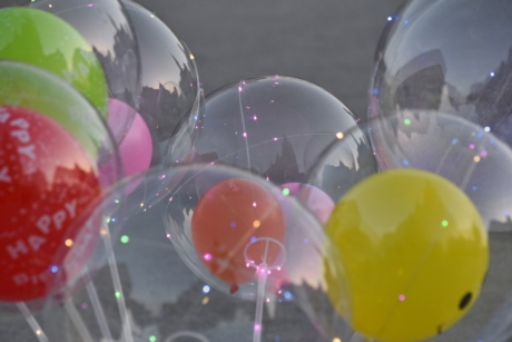 birthday, decoration, reflection, color, bright, balloon, celebration, party, fun, sphere