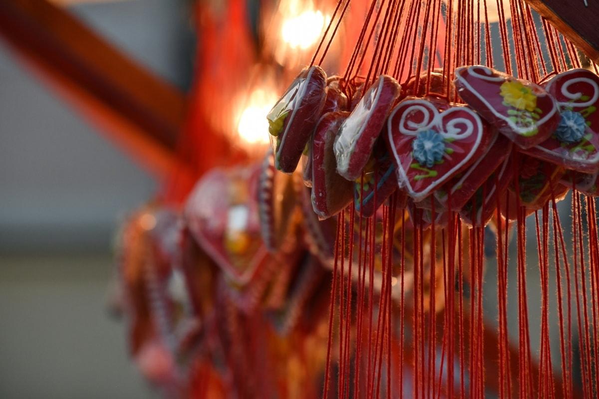 cukrászda, dekoráció, ajándék, szív, szerelem, hagyományos, ünnepe, Fesztivál, vallás, lógott