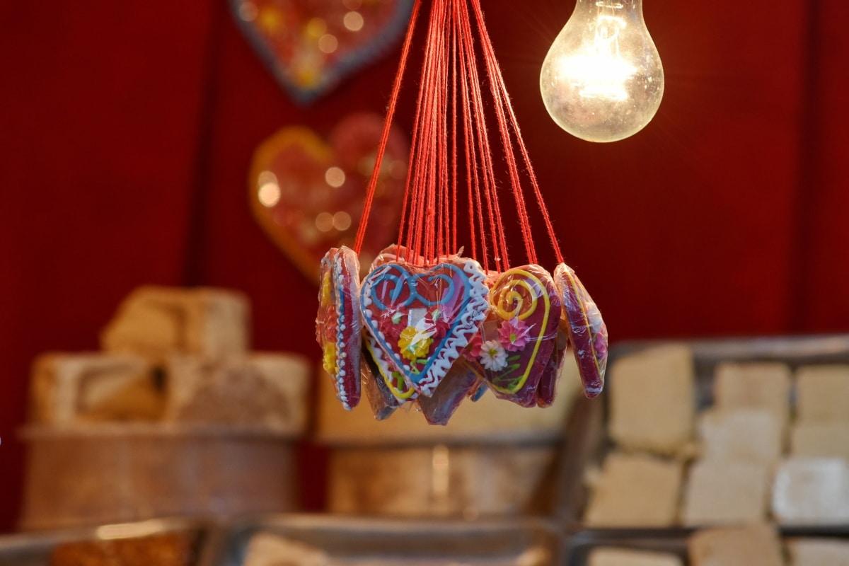 nature sauvage, suspendu, coeurs, ampoule, La Saint-Valentin, traditionnel, bois, décoration, à l'intérieur, antique