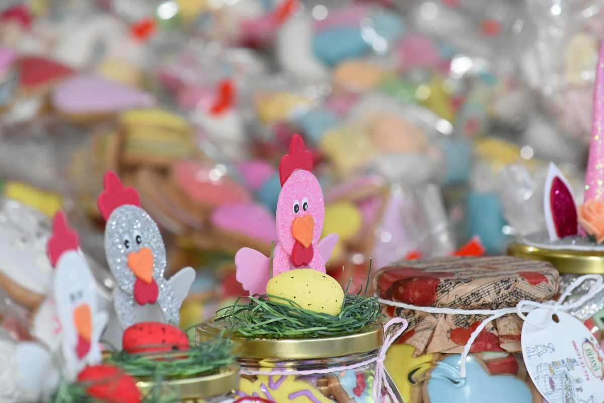 easter, handmade, jar, toys, celebration, decoration, traditional, party, candy, color