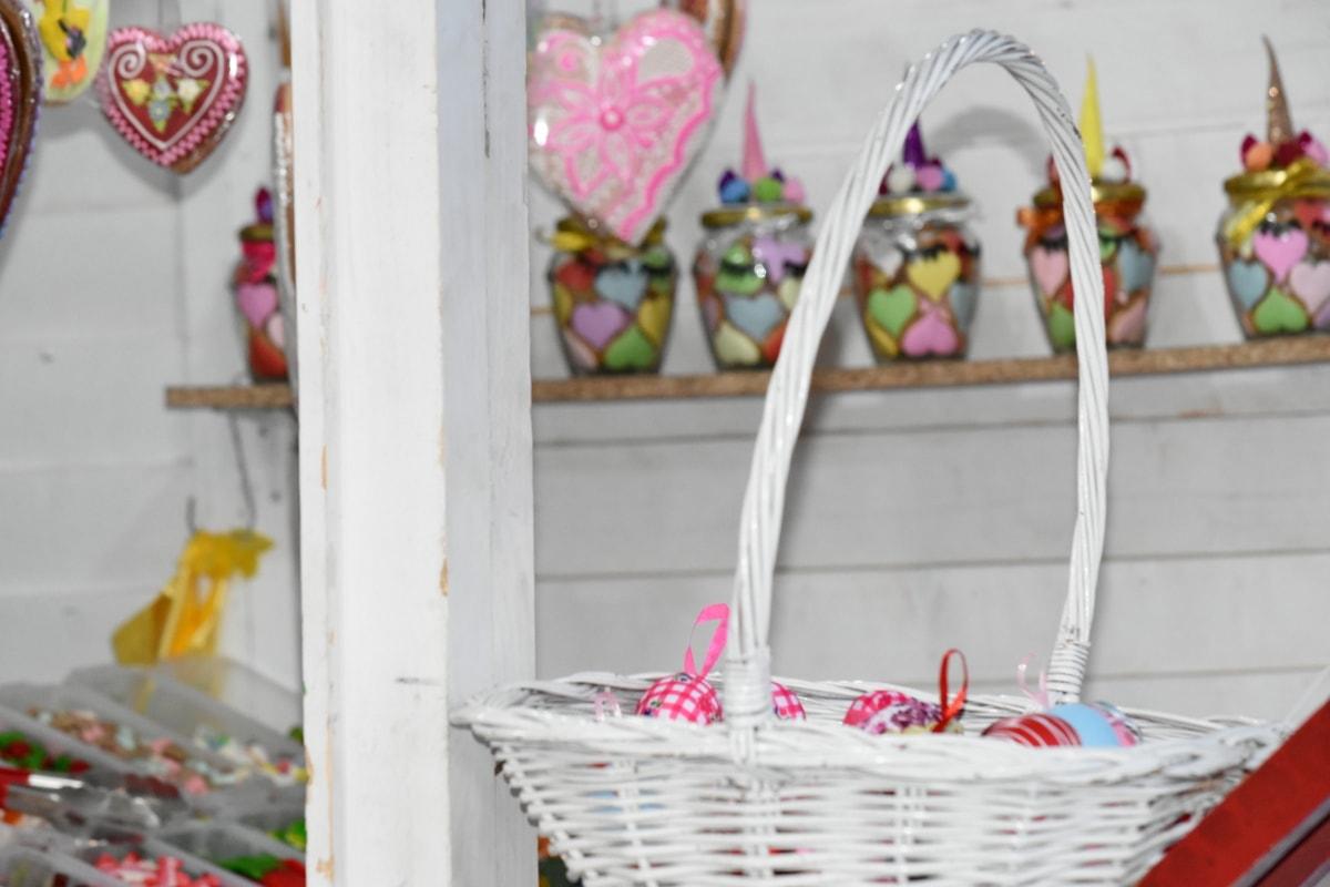 dekorasjon, påske, flettet kurv, kurv, lyse, godteri, feiring, farge, beholder, design