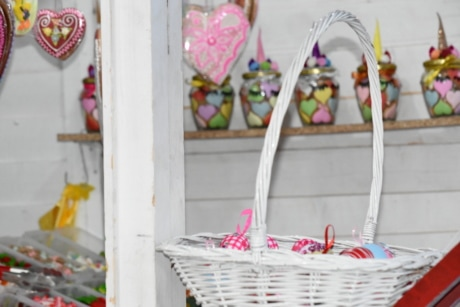 decoration, easter, wicker basket, basket, bright, candy, celebration, color, container, design