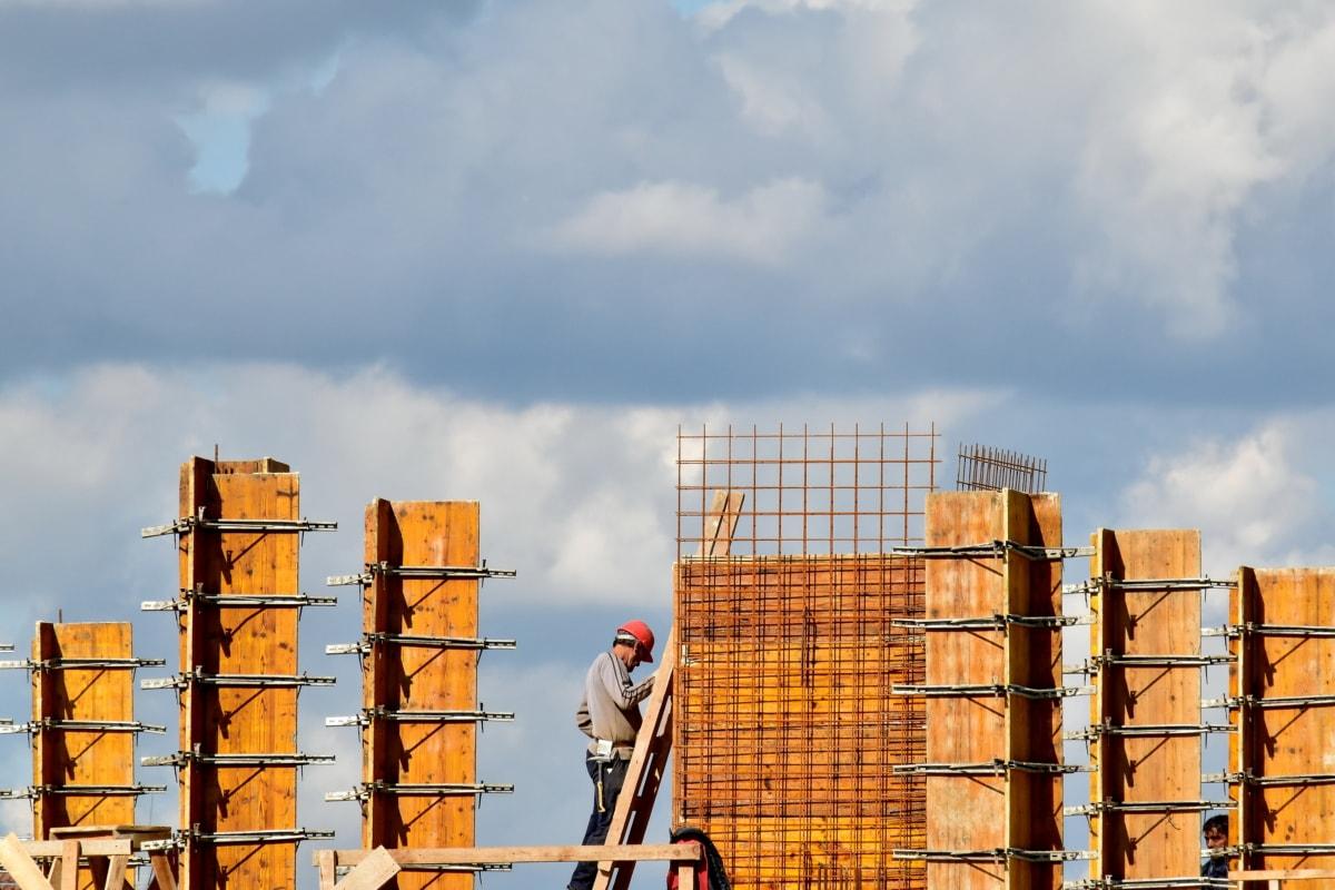 travailleur de la construction, échelle, toit, Tall, travailleur, Workman, lieu de travail, architecture, Création de, gratte-ciel