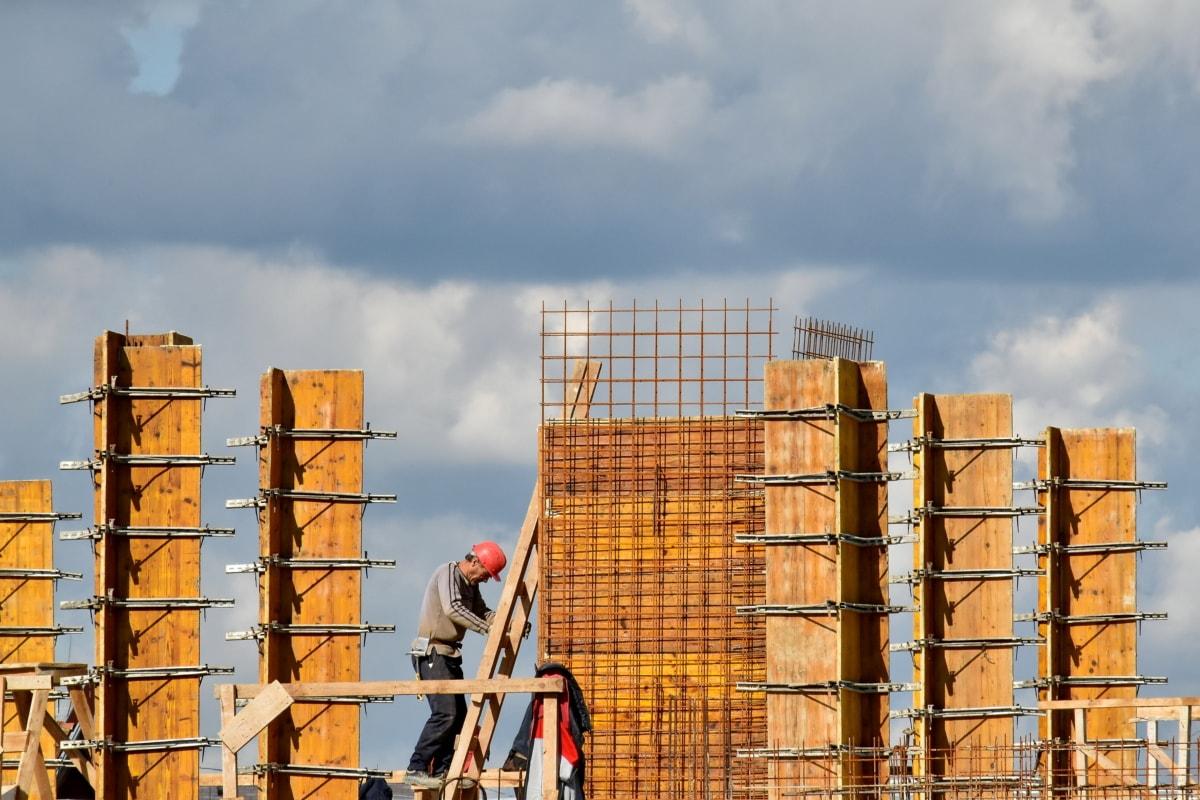 građevinski radnik, ljestve, metal, visok, radnik, radnik, grad, arhitektura, zgrada, industrija