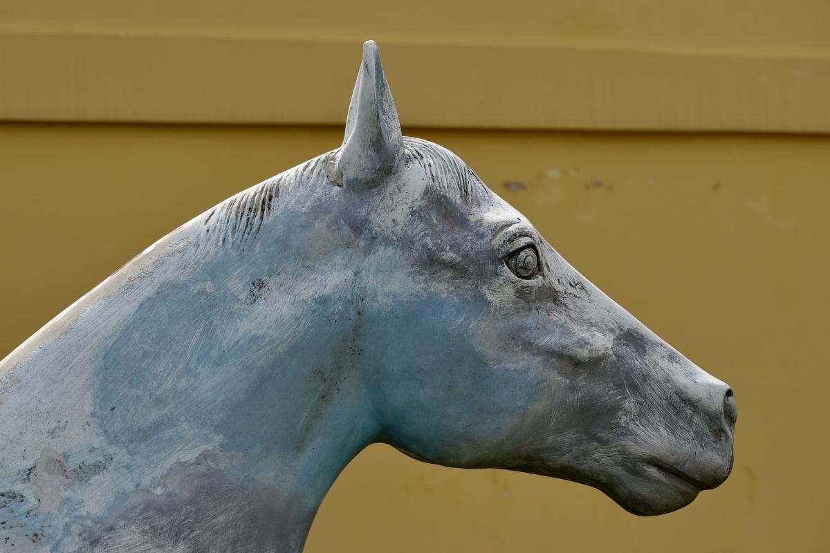 handmade, object, sculpture, statue, cavalry, animal, horse, art, portrait, outdoors