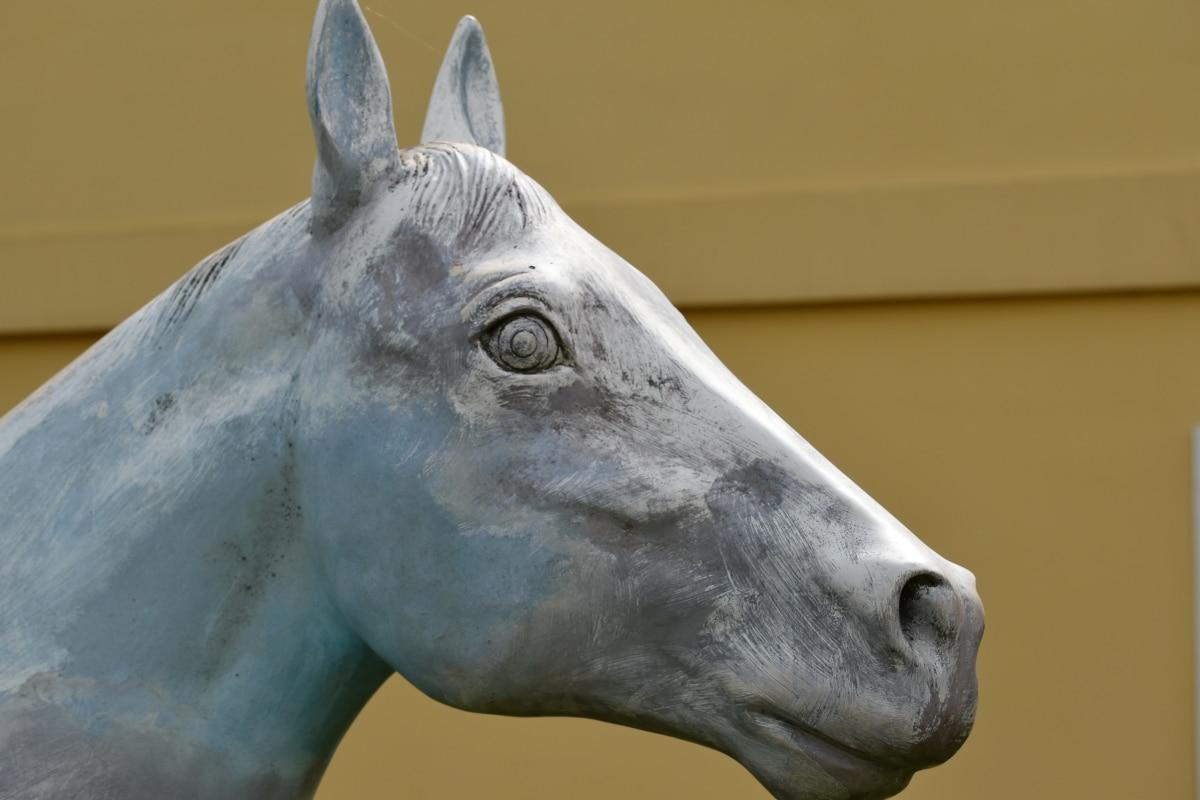 detaljer, hest, plast, skulptur, dyr, kavaleri, stående, hodet, natur, statuen