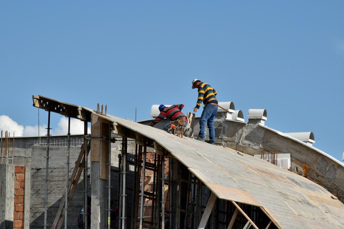 építőmunkás, veszély, ipari, tetőtéri, biztonsági, park, épület, építészet, szabadban, iparág