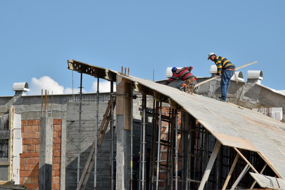 pracownik budowlany, dachu, na dachu, przemysł, budynek, architektura, na zewnątrz, Drabina, bezpieczeństwa, Dom