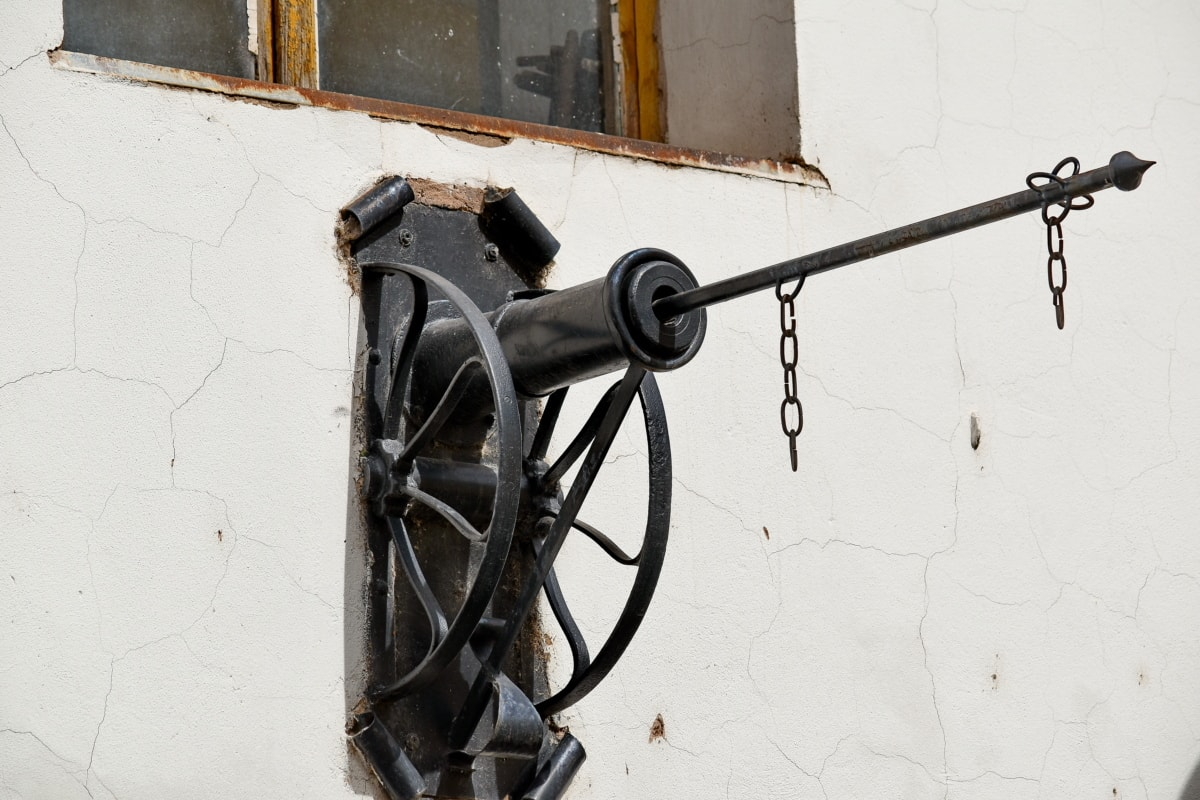 antiquity, cast iron, decoration, wall, windows, cannon, building, house, steel, old