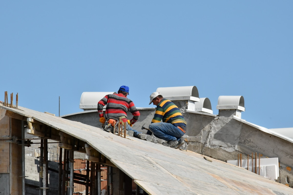 construction worker, industry, men, roof, rooftop, building, outdoors, architecture, safety, daylight