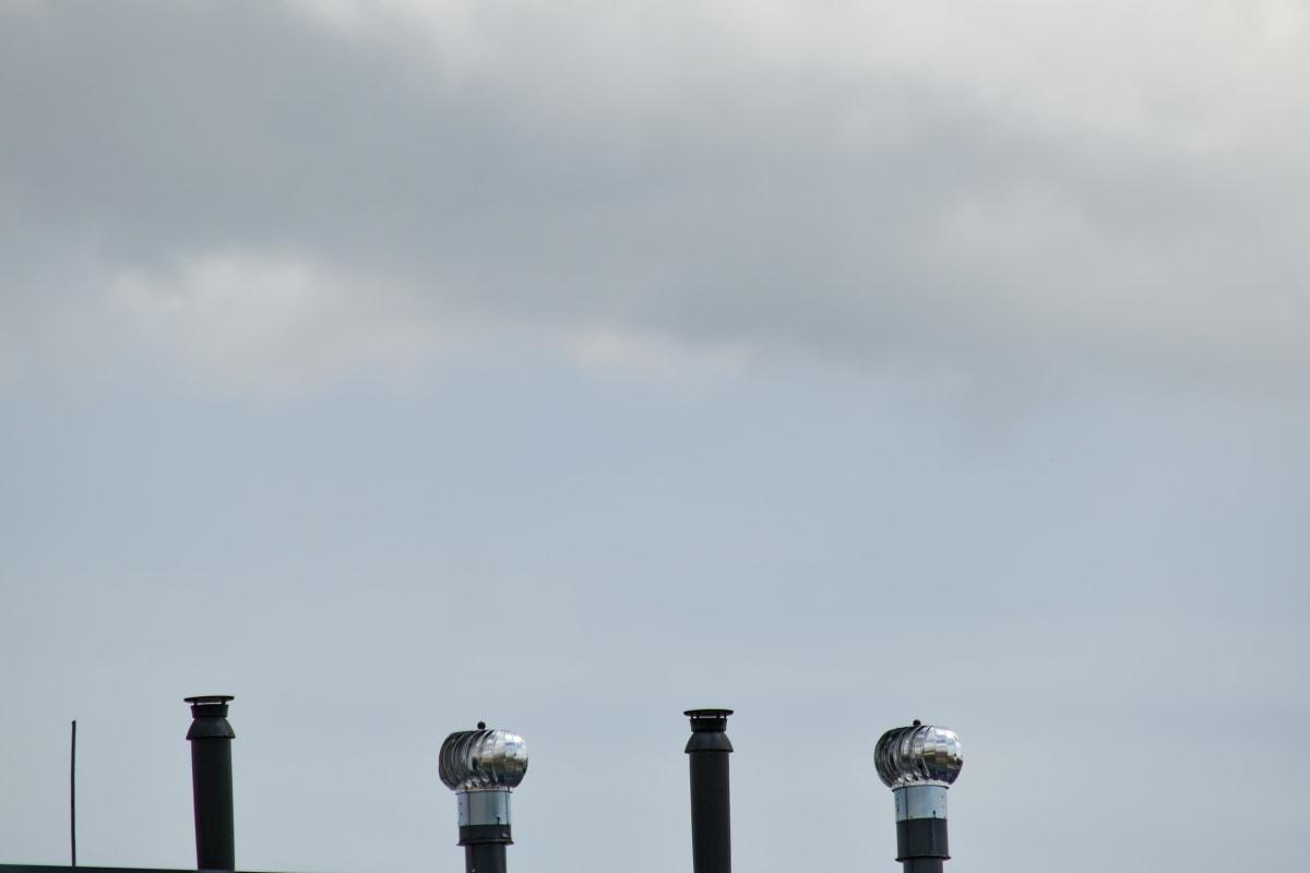 komin, na zewnątrz, architektura, dym, smog, zanieczyszczenia, zachód słońca, przemysł, mgła, światło