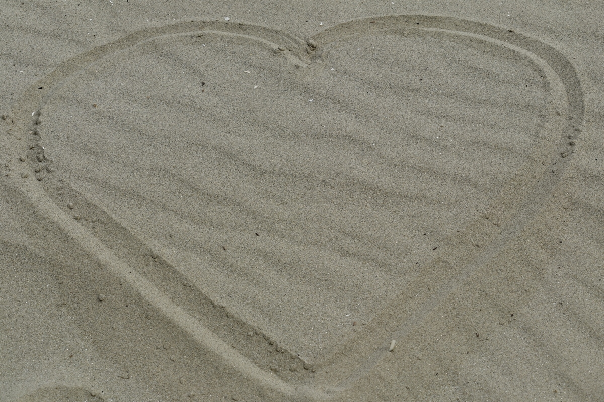 srce, ljubav, poruka, pijesak, simbol, simetrija, tla, plaža, abstraktno, prazan