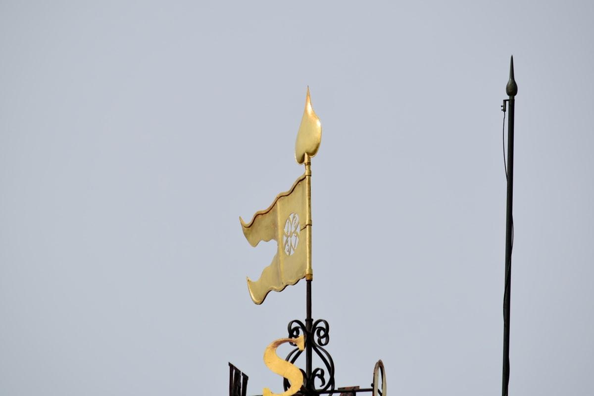 exteriér, zlato, vysoká, symbol, vrchol, stabilizátor, zařízení, venku, architektura, světlo