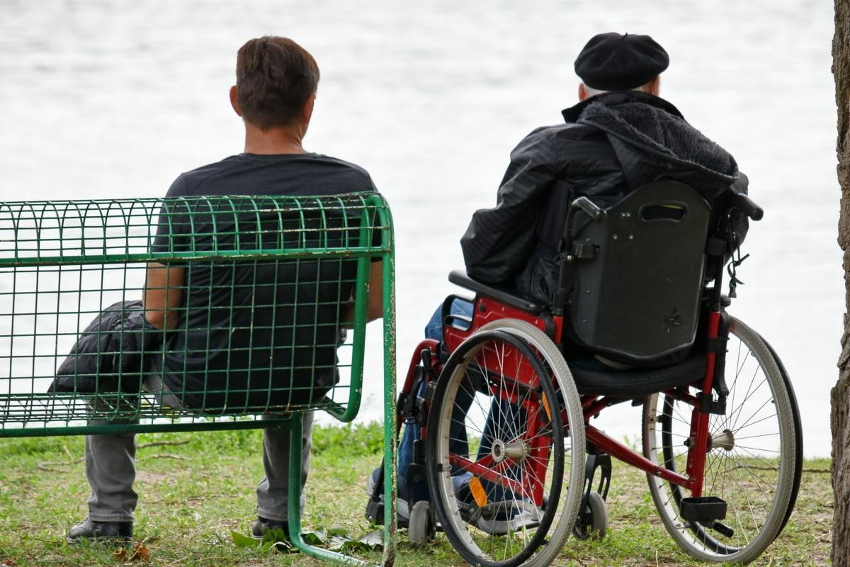 benken, hyllebær, menn, fellesskap, rullestol, sete, møbler, folk, mann, utendørs