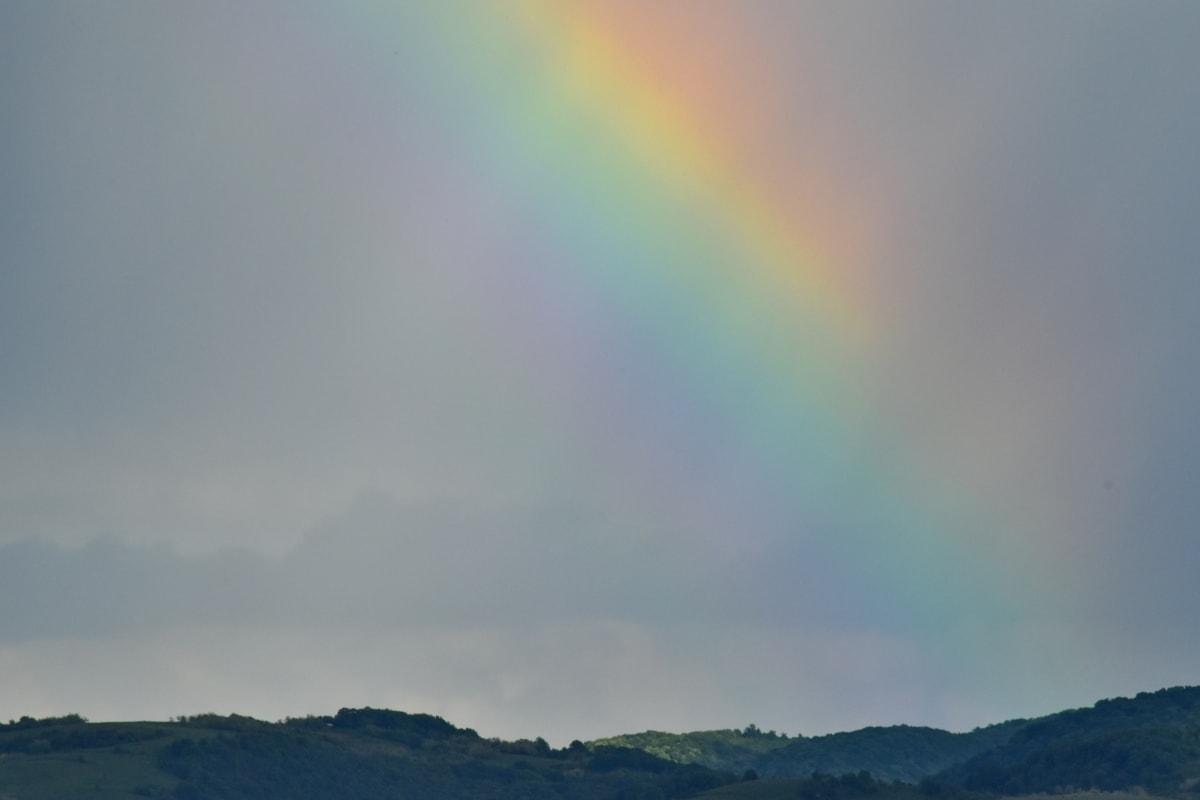 moisture, rainbow, mountain, atmosphere, cloud, landscape, clouds, nature, color, summer