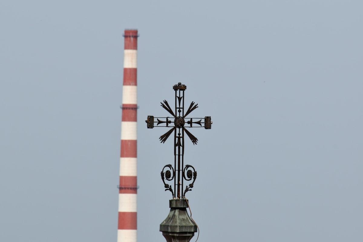 Църквата кула, кръст, фабрика, промишленост, замърсяване, кула, на открито, архитектура, технология, дневна светлина