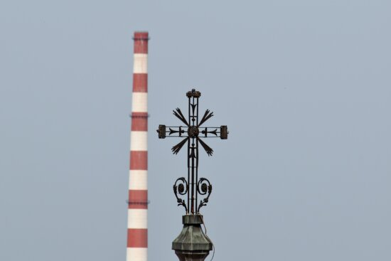 church tower, cross, factory, industry, pollution, tower, outdoors, architecture, technology, daylight