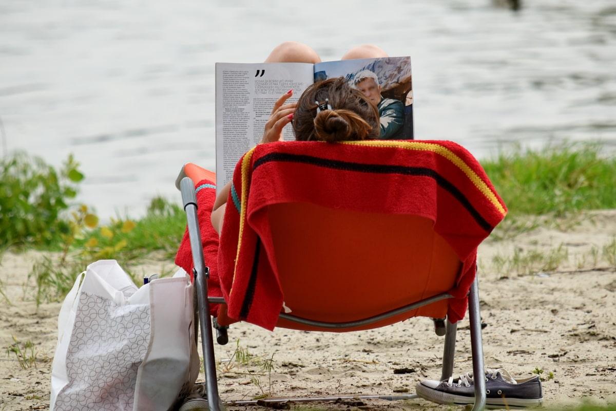 pláž, pláže trávy, Letná sezóna, žena, Stolička, zvyšok, zariadenie, sedadlo, vonku, letné