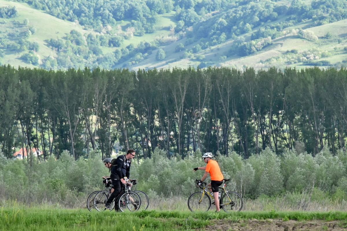 Polkupyörä, Polkupyöräily, mäenrinne, maastopyörä, vapaa-aika, urheilu, kaltevuus, ulkona, vuori, nousu