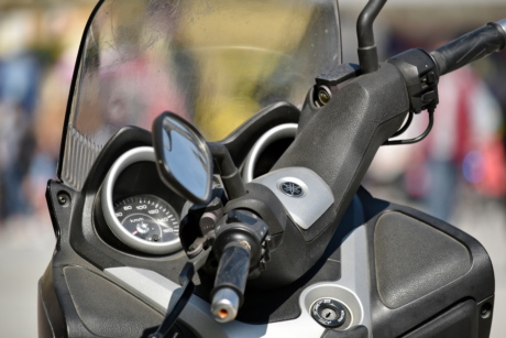 motorcycle, speedometer, steering wheel, windshield, vehicle, drive, wheel, gasoline, equipment, technology