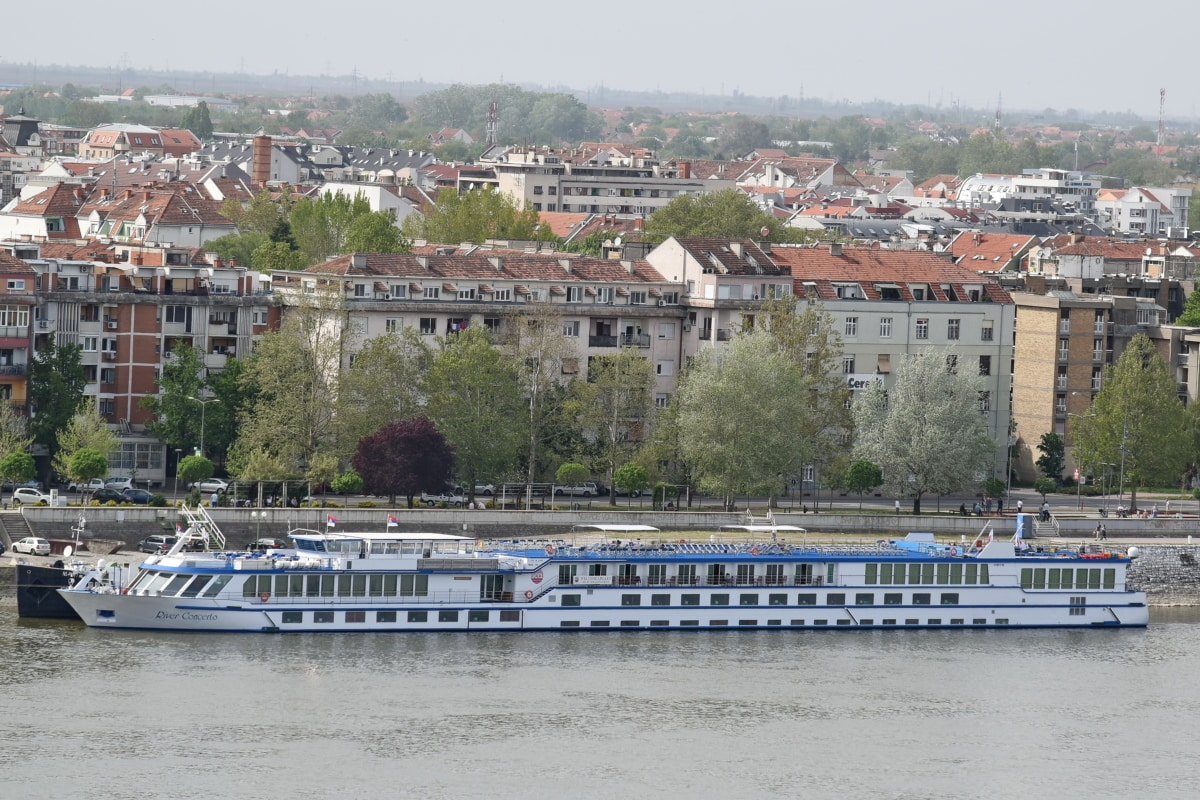 cruise ship, house, residence, building, town, palace, water, city, bridge, boat