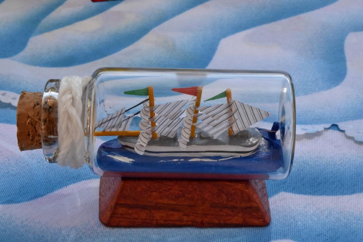 botol, kapal, mainan, toko mainan, dingin, kaca, kayu, model tahun, kontainer, kayu