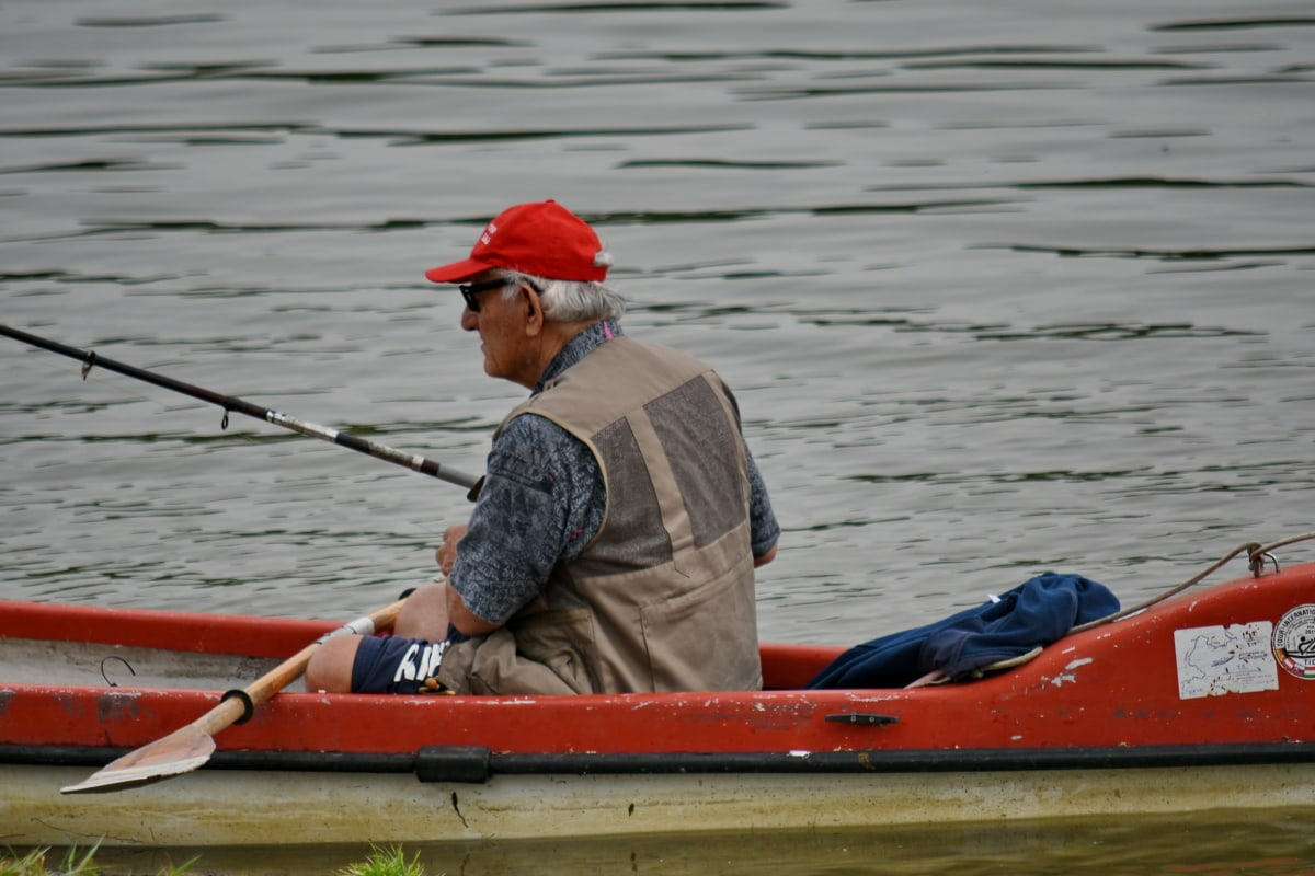 elderly, fishing boat, fishing gear, man, kayak, canoe, oar, competition, water, watercraft