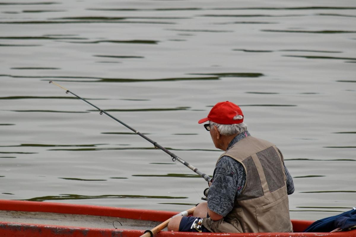 fishing boat, fisherman, water, equipment, fishing gear, river, lake, oar, people, watercraft