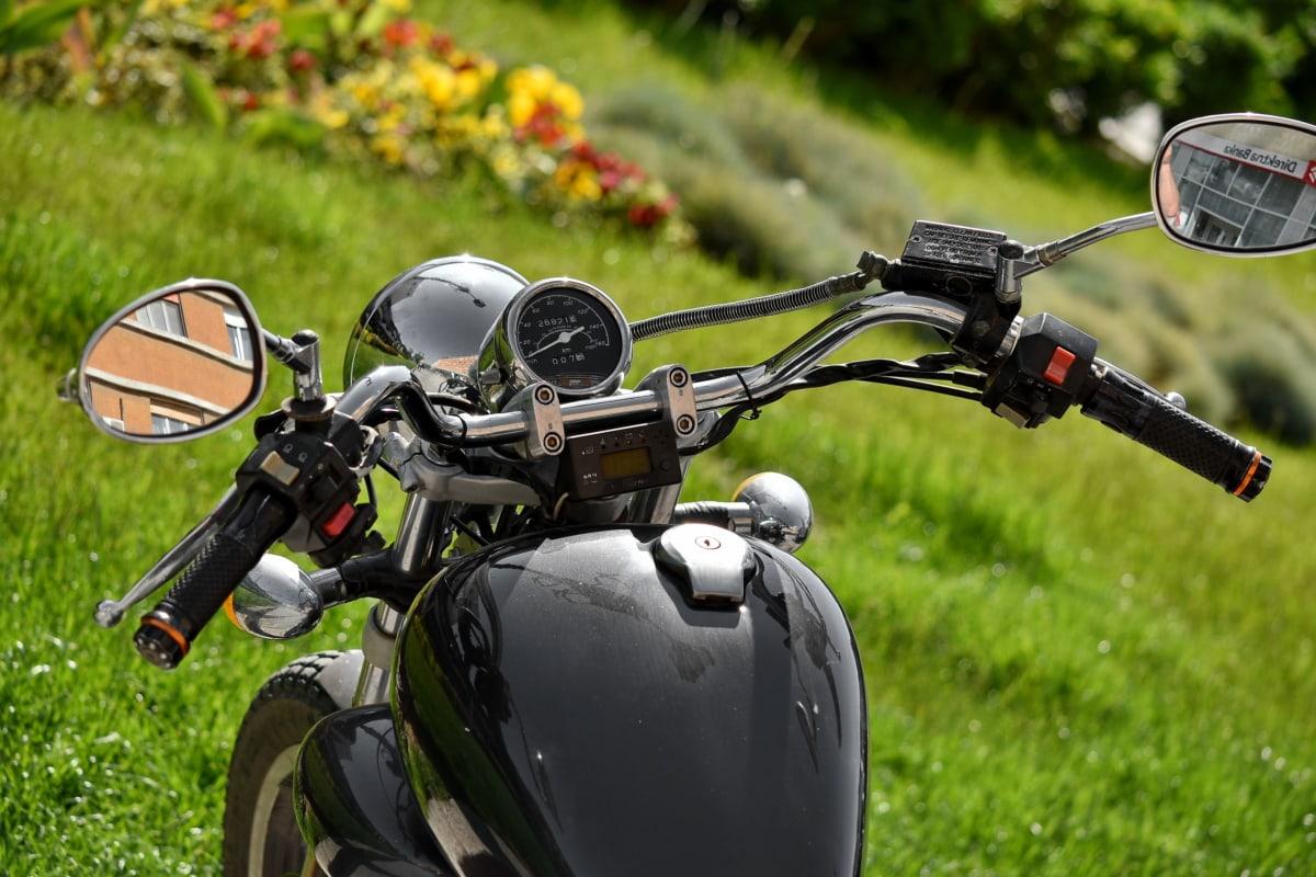 Dźwignia zmiany biegów, metaliczne, Motocykl, koło kierownicy, pojazd, trawa, koła, Rekreacja, na zewnątrz, Motocykl