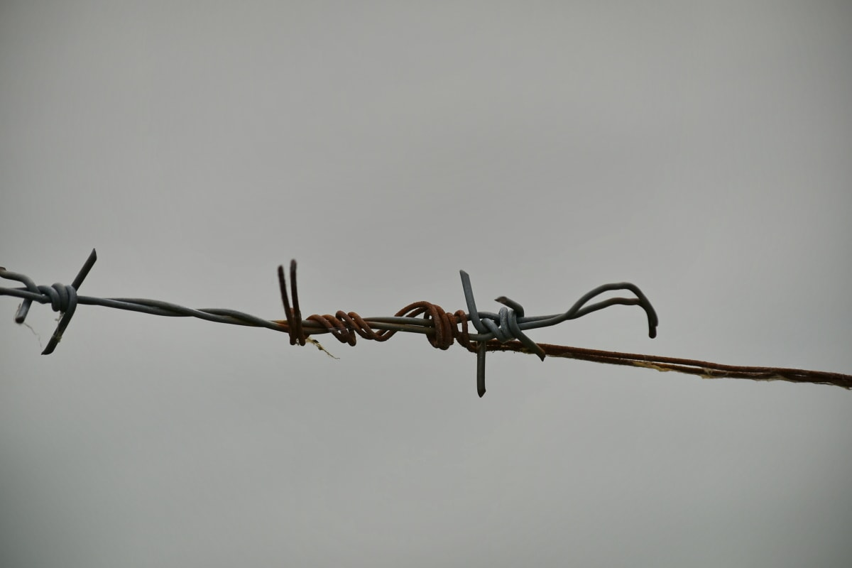 metal, rust, security, barbed wire, fence, precision, outdoors, cloud, technology, transportation