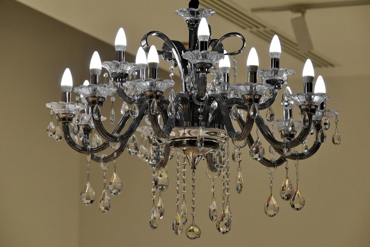 antigüedad, barroco, cristal, araña de luces, lámpara, lujo, decoración, diseño, arte, vela