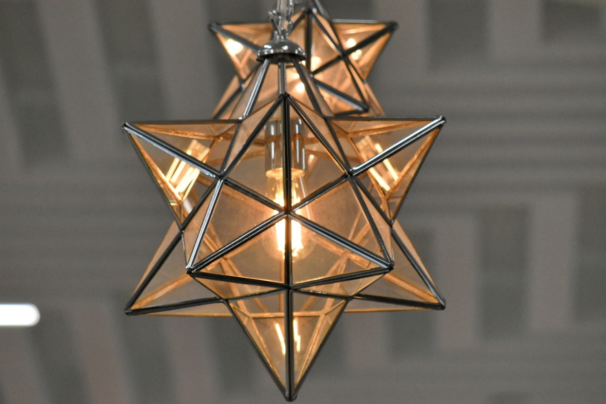 chandelier, lantern, light bulb, star, transparent, structure, festival, bright, outdoors, business