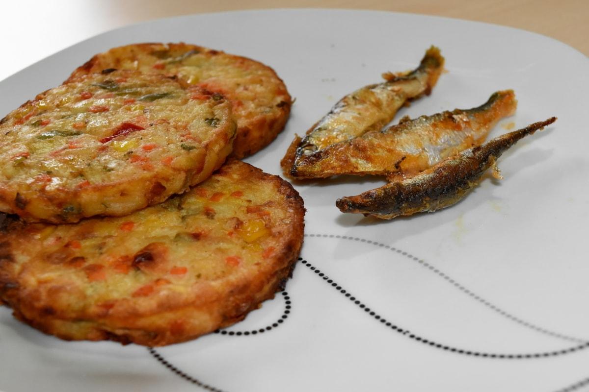 Grill, sjømat, kjøtt, middag, mat, lunsj, måltid, plate, parabolen, deilig