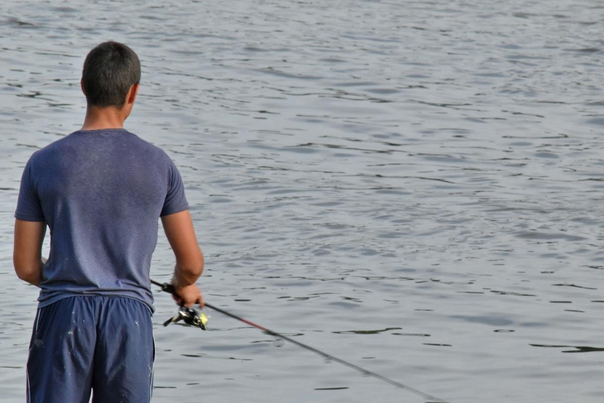 釣りギア, フライフィッシング, スポーツ, 漁師, 水, 人々, 湖, レクリエーション, 男, 反射