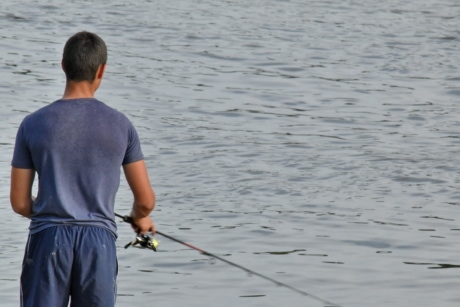 fishing gear, fly fishing, sport, fisherman, water, people, lake, recreation, man, reflection