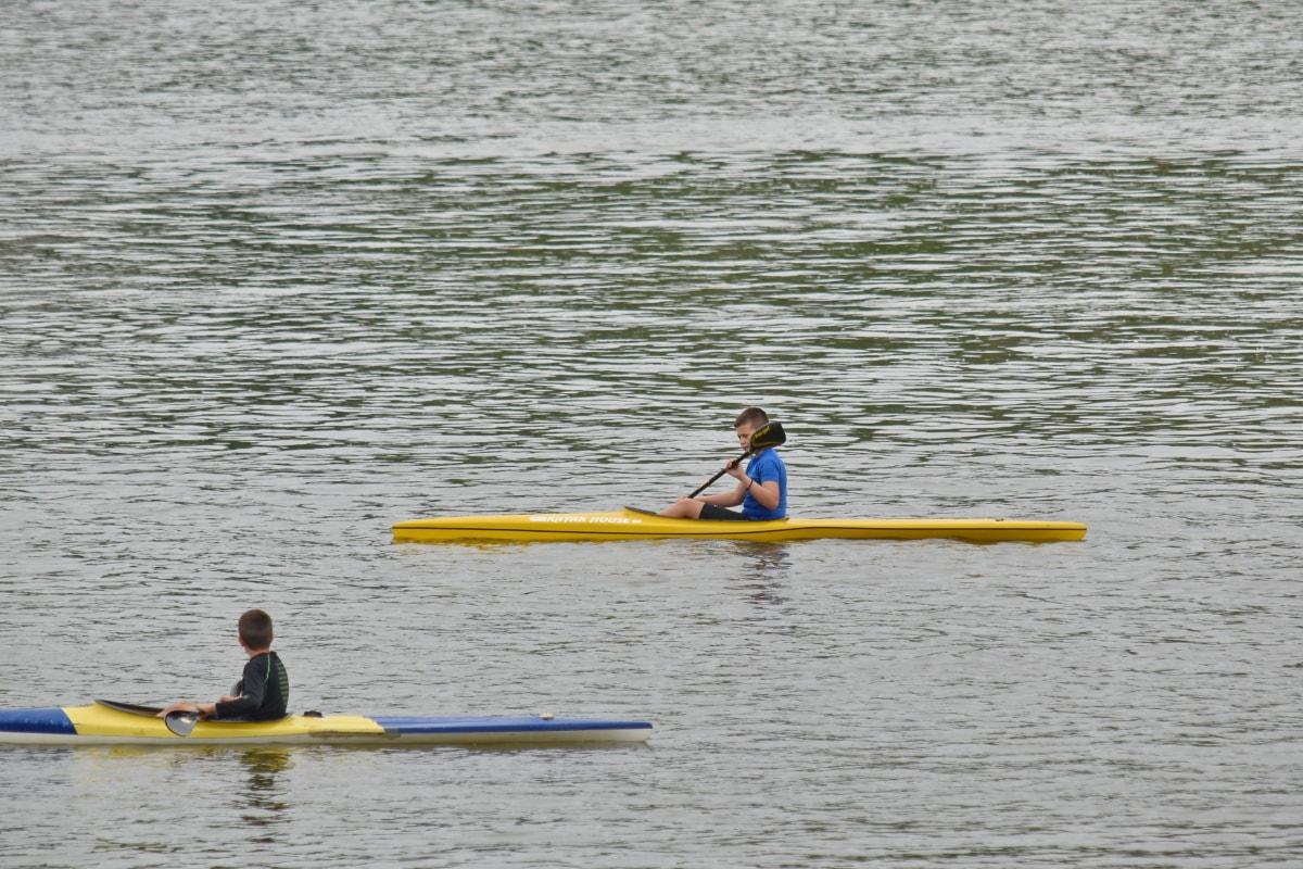 djeca, rekreacija, sportski, kanu, kajak, veslo, brod, voda, more, veslo
