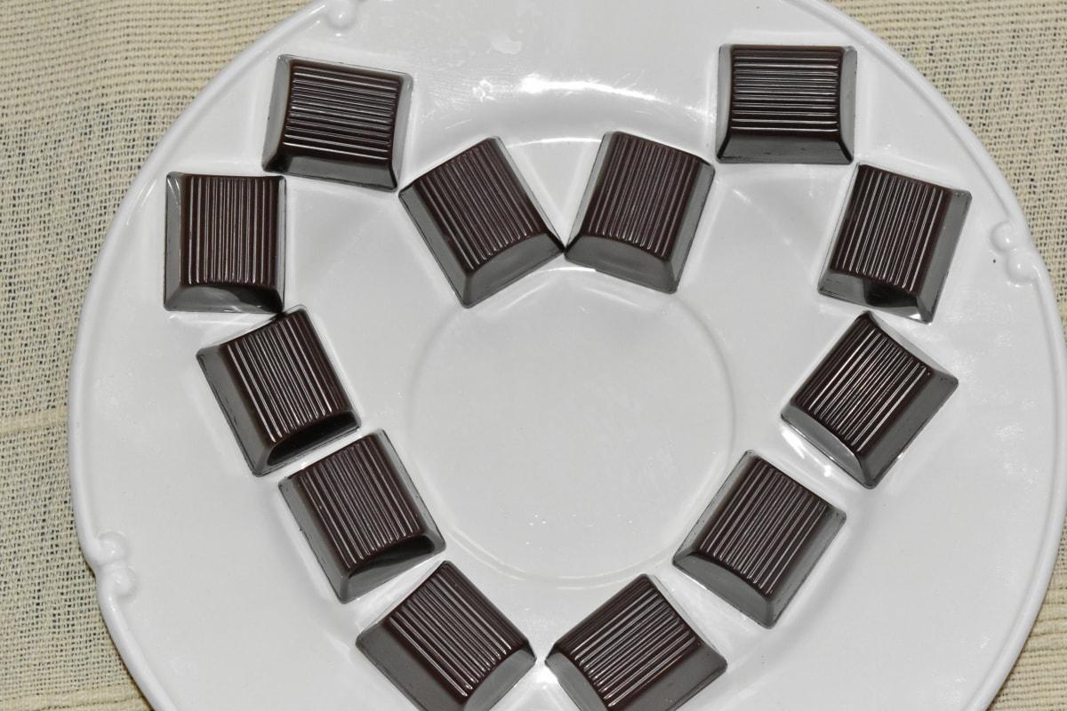 cokelat, gula-gula, lezat, makanan penutup, diet, Makanan, jantung, gula, Manis, piring