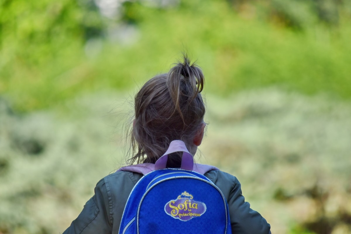 backpack, girl, school child, schoolgirl, outdoors, nature, summer, child, grass, fun