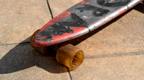 old, board, skateboard, industry, street, pavement, wood, outdoors, rust, dirty