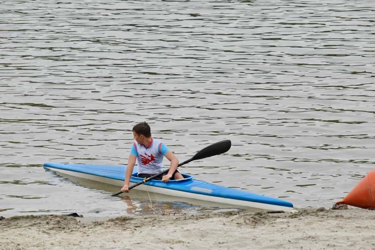 idrettsutøver, kano, elvebredden, Åre, kajakk, enheten, vann, padle, stranden, fritid