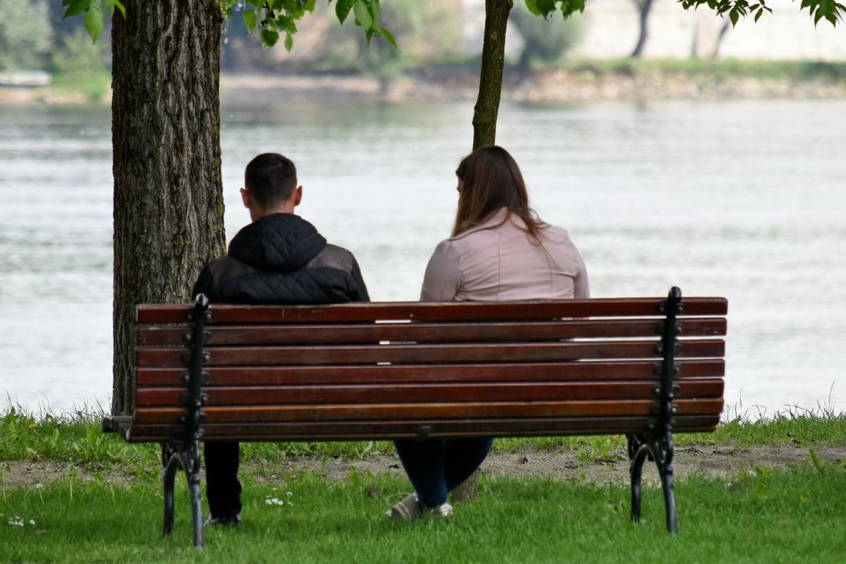banco, namorado, namorada, margem do Rio, União, assento, móveis, ao ar livre, lazer, água