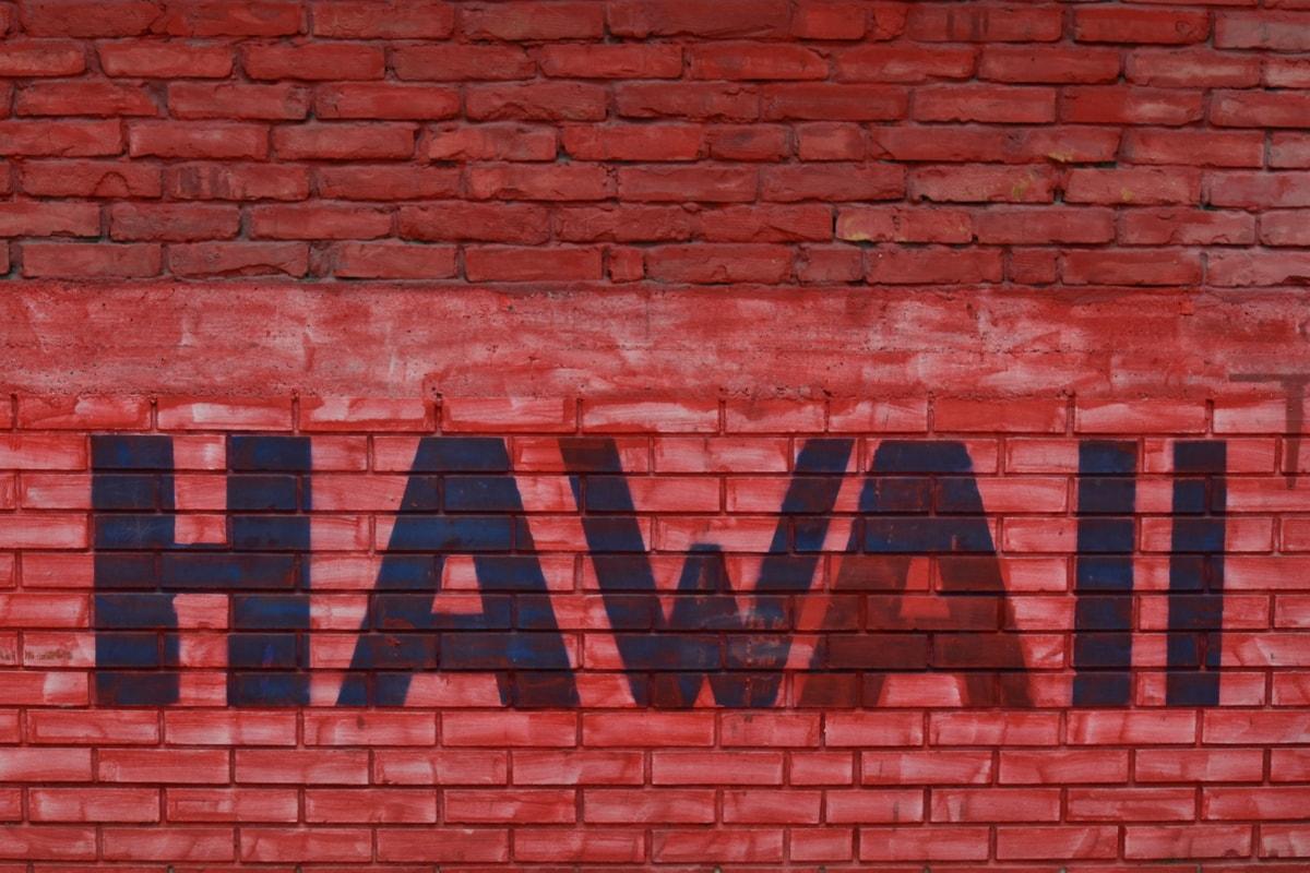 alfabeto, grafite, Havaí, sinal, texto, parede, tijolo, superfície, concreto, cimento