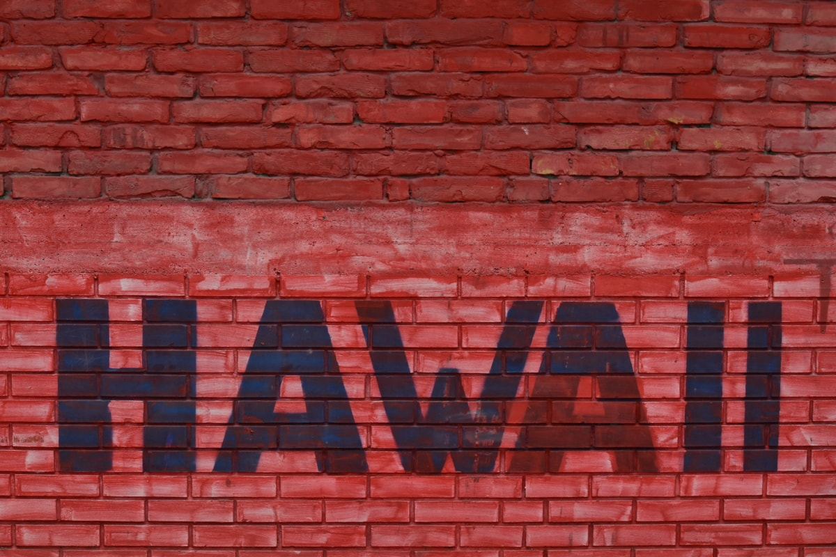 bricks, hawaii, red, sign, wall, texture, building, concrete, cement, brick