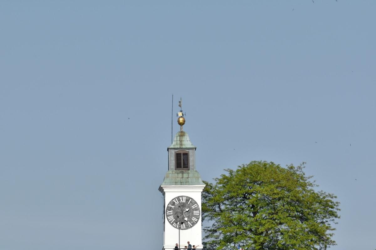 panoráma, turistickou atrakciou, Architektúra, veža, budova, krytina, vonku, hodiny, staré, denné svetlo