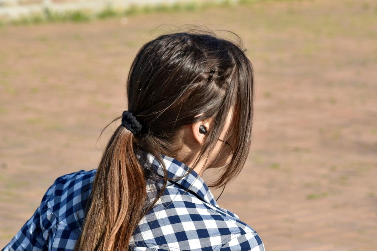 adolescenta, bruneta, căşti, relaxare, portret, natura, fată, în aer liber, oameni, Parcul