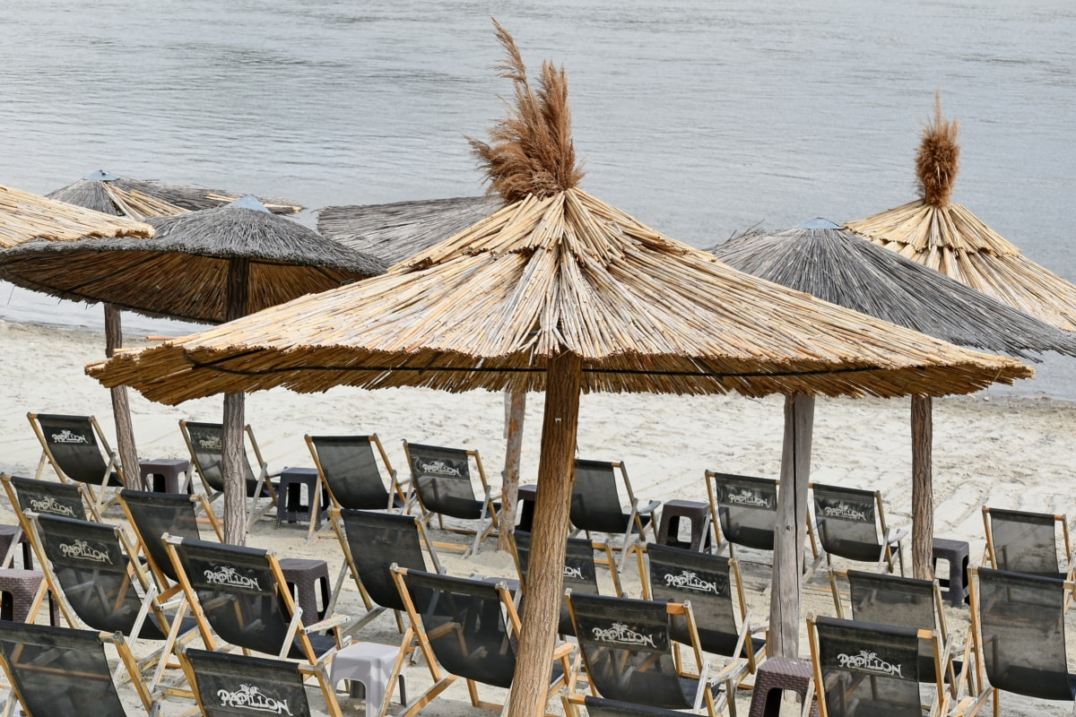 praia, parasol, tropical, estância, telhado, água, férias, beira-mar, de madeira, Verão
