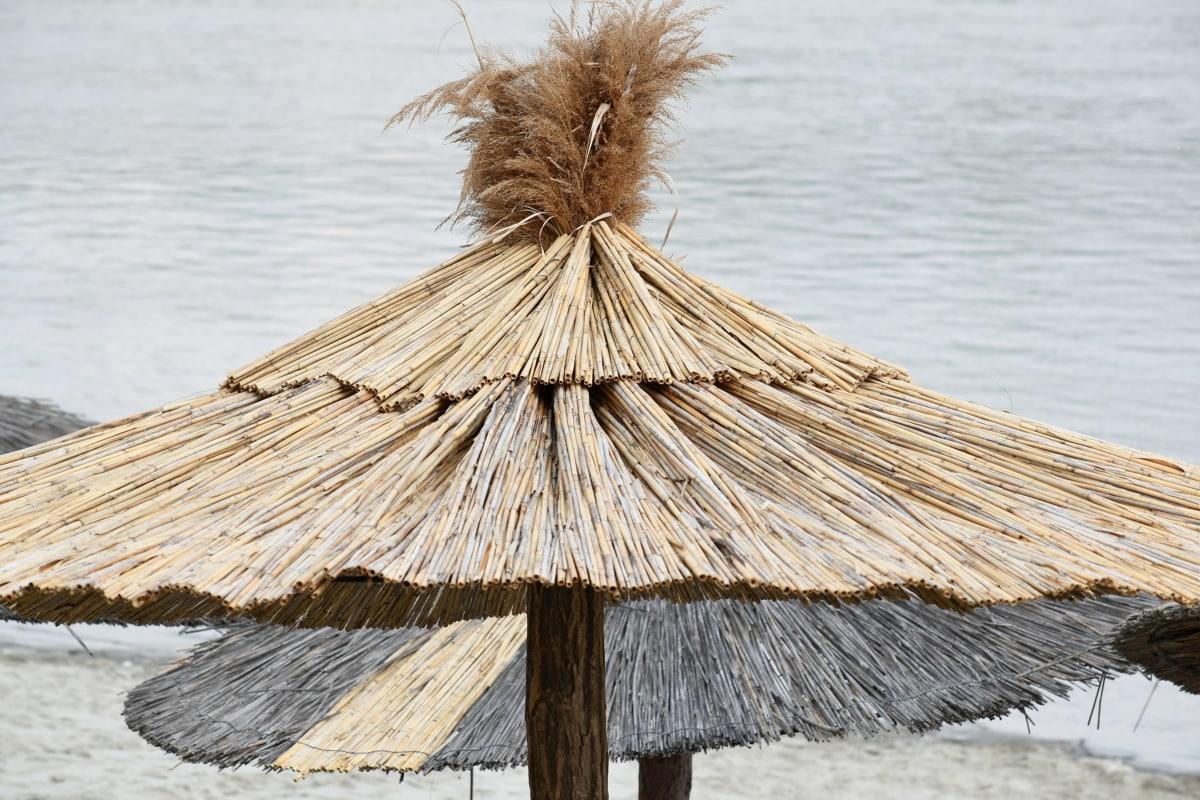 Parasol, varjo, Luonto, kattaa, ranta, vesi, katto, meren rannalla, puinen, valtameri