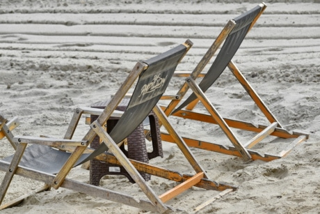 chair, seat, furniture, beach, sand, wood, wooden, empty, seashore, outdoors