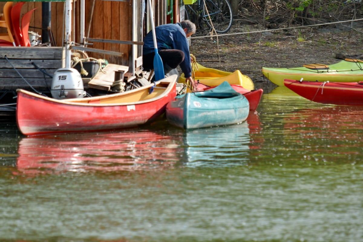 canoa, hombre, orilla del río, agua, motos de agua, góndola, Mar, canal, barco, vehículo