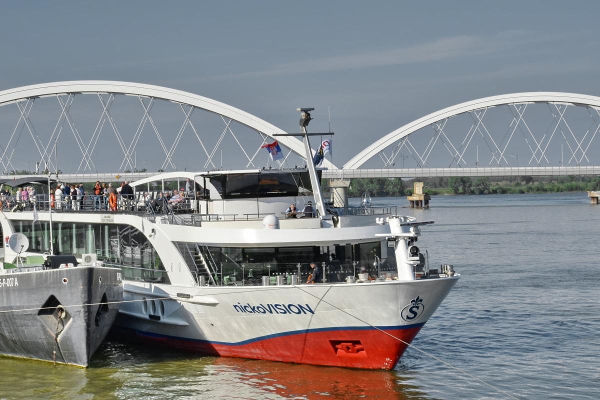 Most, výletná loď, remeslo, loď, oceán, prístav, more, hasičský čln, líniové, voda
